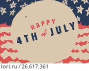 Купить «Slanted fourth of July graphic against hand drawn american flag», иллюстрация № 26617361 (c) Wavebreak Media / Фотобанк Лори