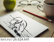 Beach doodle on notepad next to coffee and red pencil. Стоковое фото, агентство Wavebreak Media / Фотобанк Лори