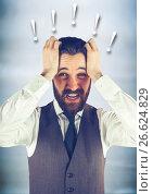Купить «Frustrated business man against blurry blue wood panel and 3D exclamation points», фото № 26624829, снято 17 июля 2019 г. (c) Wavebreak Media / Фотобанк Лори