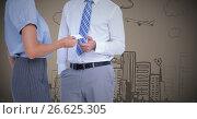 Купить «Business people swapping card against brown background with city doodle», фото № 26625305, снято 25 апреля 2019 г. (c) Wavebreak Media / Фотобанк Лори