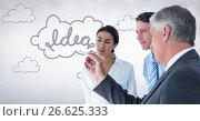 Купить «Innovative business team looking at 3D idea graphic against white wall», фото № 26625333, снято 27 мая 2020 г. (c) Wavebreak Media / Фотобанк Лори
