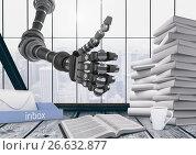 Купить «thumb up robot in an office», фото № 26632877, снято 19 января 2019 г. (c) Wavebreak Media / Фотобанк Лори