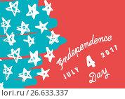 Купить «White slanted fourth of July graphic against hand drawn star pattern and red background», фото № 26633337, снято 19 марта 2019 г. (c) Wavebreak Media / Фотобанк Лори
