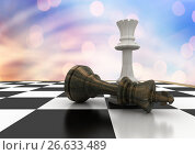 Купить «3D Chess pieces against blue orange bokeh», иллюстрация № 26633489 (c) Wavebreak Media / Фотобанк Лори