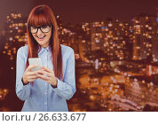 Купить «Woman Texting in rouge red night city», фото № 26633677, снято 15 июля 2020 г. (c) Wavebreak Media / Фотобанк Лори