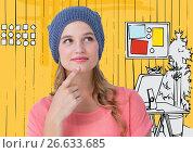 Купить «Millennial woman thinking against 3D yellow hand drawn office», фото № 26633685, снято 23 января 2020 г. (c) Wavebreak Media / Фотобанк Лори