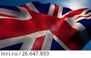 Купить «Union flag waving against sky on a sunny day», видеоролик № 26647893, снято 16 июля 2019 г. (c) Wavebreak Media / Фотобанк Лори