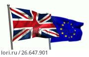 Купить «Union flag and European flag waving against white background», видеоролик № 26647901, снято 16 июля 2019 г. (c) Wavebreak Media / Фотобанк Лори
