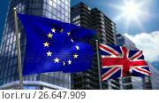Купить «Union flag and European flag waving against cityscape», видеоролик № 26647909, снято 16 июля 2019 г. (c) Wavebreak Media / Фотобанк Лори