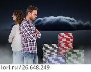 Купить «Couple upset back to back with 3D gambling poker chips», фото № 26648249, снято 18 ноября 2018 г. (c) Wavebreak Media / Фотобанк Лори