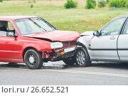 Купить «Car crash accident on street», фото № 26652521, снято 11 июля 2017 г. (c) Дмитрий Калиновский / Фотобанк Лори