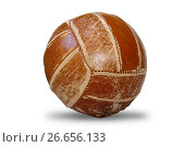 Volleyball old ball - isolated object on white. Стоковое фото, фотограф Анастасия Кононенко / Фотобанк Лори