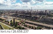 Купить «Lipetsk, Russia - July 11. 2017: Top view of Metallurgical plant NLMK Group.», фото № 26658237, снято 11 июля 2017 г. (c) Володина Ольга / Фотобанк Лори