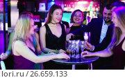 Купить «Colleagues dancing on corporate party with cocktails in hands», видеоролик № 26659133, снято 4 мая 2017 г. (c) Яков Филимонов / Фотобанк Лори