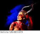 Купить «Mad satan woman aggressive cry in hell . Witch reincarnation creature.», фото № 26661673, снято 23 марта 2017 г. (c) Gennadiy Poznyakov / Фотобанк Лори
