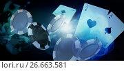 Купить «Composite image of illustration of 3d gambling chips», фото № 26663581, снято 19 января 2019 г. (c) Wavebreak Media / Фотобанк Лори