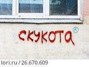 """Купить «""""Скукота"""" - надпись на стене дома», эксклюзивное фото № 26670609, снято 10 июля 2017 г. (c) Александр Щепин / Фотобанк Лори"""