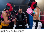 Купить «Young male referee looking at female boxers», фото № 26673969, снято 22 января 2017 г. (c) Wavebreak Media / Фотобанк Лори