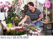 Купить «Female florist with kalanchoe», фото № 26676069, снято 16 августа 2018 г. (c) Яков Филимонов / Фотобанк Лори
