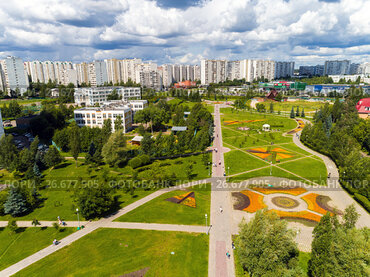 Moscow, Russia - July 20.2017. View from the height of boulevard with flowers in Zelenograd