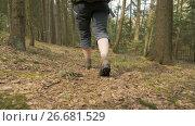 Купить «Legs of the young girl with backpack in the summer forest - flying camera shot», видеоролик № 26681529, снято 17 мая 2017 г. (c) Dzmitry Astapkovich / Фотобанк Лори