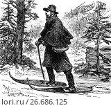 Купить «1879: A postman doing his rounds in the Rocky Mountains, United States of America.», фото № 26686125, снято 2 июля 2017 г. (c) age Fotostock / Фотобанк Лори