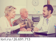 Купить «Old father with daughter visit doctor», фото № 26691713, снято 21 июля 2019 г. (c) Яков Филимонов / Фотобанк Лори