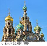 Купить «Купола православного собора Спас-на-Крови освещенные солнцем на фоне синего неба», фото № 26694989, снято 16 июня 2017 г. (c) Максим Мицун / Фотобанк Лори