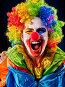 Mad clown on black background. Portrait of crazy woman., фото № 26695821, снято 25 марта 2017 г. (c) Gennadiy Poznyakov / Фотобанк Лори