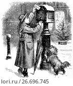 Купить «1880: Posting a Christmas Card in New York City,. New York State, United States of America.», фото № 26696745, снято 30 января 2017 г. (c) age Fotostock / Фотобанк Лори