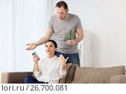 Купить «couple having argument at home», фото № 26700081, снято 20 января 2017 г. (c) Syda Productions / Фотобанк Лори