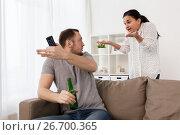 Купить «couple having argument at home», фото № 26700365, снято 20 января 2017 г. (c) Syda Productions / Фотобанк Лори