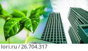 Купить «Современные высотные здания на фоне зеленого растения», фото № 26704317, снято 13 июля 2020 г. (c) Сергеев Валерий / Фотобанк Лори