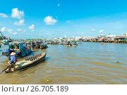 Mekong floating market (2014 год). Редакционное фото, фотограф Никита Буйда / Фотобанк Лори