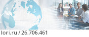 Купить «Business people having a meeting with world global transition effect», фото № 26706461, снято 4 июня 2020 г. (c) Wavebreak Media / Фотобанк Лори