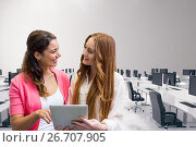 Купить «Happy business women using a tablet», фото № 26707905, снято 24 февраля 2020 г. (c) Wavebreak Media / Фотобанк Лори