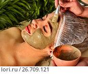 Купить «Mud facial mask of woman in spa salon. Face procedure .», фото № 26709121, снято 19 марта 2017 г. (c) Gennadiy Poznyakov / Фотобанк Лори