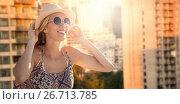 Купить «Composite image of beautiful girl with straw hat and sunglasses», фото № 26713785, снято 16 октября 2018 г. (c) Wavebreak Media / Фотобанк Лори