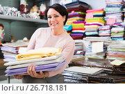Купить «Mature woman with loop towels», фото № 26718181, снято 16 октября 2018 г. (c) Яков Филимонов / Фотобанк Лори