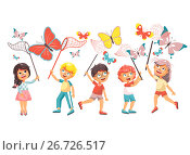 Купить «Vector illustration isolated cartoon character children, young naturalists, biologist boys and girls catch colorful butterflies with nets, scoop-nets, hoop-nets on white background in flat style», иллюстрация № 26726517 (c) Maryna Bolsunova / Фотобанк Лори