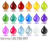 Купить «Разноцветные полу-прозрачные и прозрачные капли с тенью изолированно на белом фоне», иллюстрация № 26730957 (c) Анастасия Некрасова / Фотобанк Лори