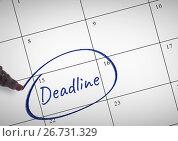 Купить «Deadline Text written on calendar with marker», фото № 26731329, снято 22 сентября 2019 г. (c) Wavebreak Media / Фотобанк Лори