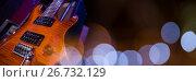 Купить «Electric guitar with blue lights», фото № 26732129, снято 15 июля 2020 г. (c) Wavebreak Media / Фотобанк Лори