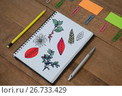 Купить «Tree branches and leafs drawn onto notepad creatively», фото № 26733429, снято 28 февраля 2020 г. (c) Wavebreak Media / Фотобанк Лори