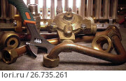 Купить «The part of gas boiler, water fittings and adjustable spanner and metalwork adjustable wrench», видеоролик № 26735261, снято 7 июня 2009 г. (c) Куликов Константин / Фотобанк Лори