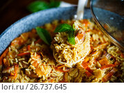 Купить «Pilaf with beef, carrots, onions, garlic, pepper and cumin.», фото № 26737645, снято 6 августа 2017 г. (c) Peredniankina / Фотобанк Лори