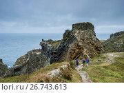Купить «Tintagel Castle on Tintagel Island, Cornwall, England, United Kingdom, Europe», фото № 26743613, снято 28 августа 2016 г. (c) age Fotostock / Фотобанк Лори