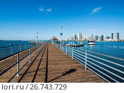 Купить «Boat pier in front of the skyline of San Diego, California, United States of America, North America», фото № 26743729, снято 22 октября 2015 г. (c) age Fotostock / Фотобанк Лори