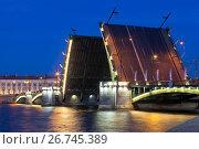 Разведённый Биржевой мост в Санкт-Петербурге, фото № 26745389, снято 18 июня 2017 г. (c) Николай Мухорин / Фотобанк Лори