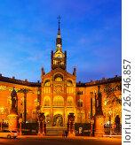 Купить «Facade of Hospital de Sant Pau in evening. Barcelona», фото № 26746857, снято 24 февраля 2019 г. (c) Яков Филимонов / Фотобанк Лори